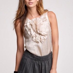 $98 J CREW Ruffle Metallic Holiday Cami Tank Top 2